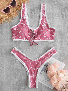 ZAFUL Floral Lace Up High Leg Bikini Set - Lipstick Pink M