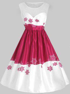 Plus Size Mesh Panel Snowflake Christmas Vintage Dress - Multi 2x