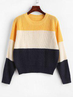 ZAFUL Color Block Striped Sweater - Multi-b