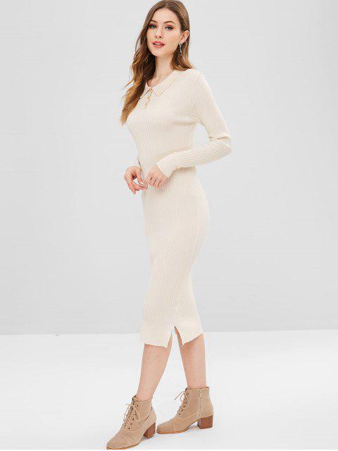 women Side Slit Plain Knitted Dress - CORNSILK ONE SIZE Mobile