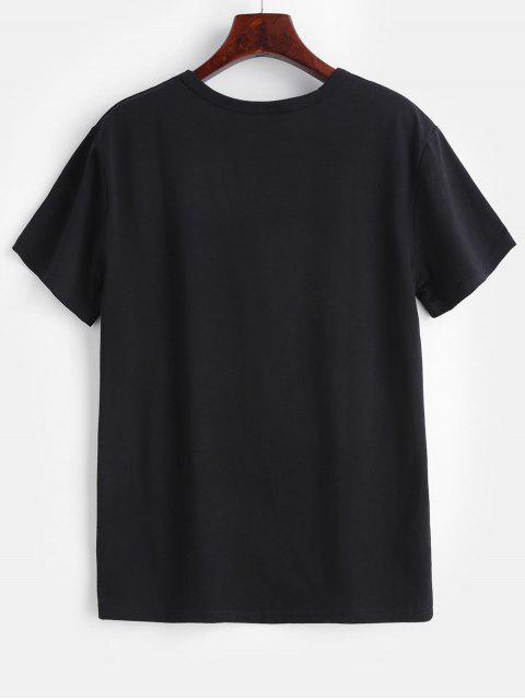 lady Round Neck Graphic Tee - BLACK L Mobile