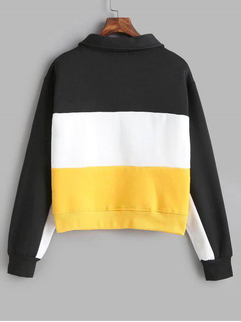 fashion Okay Color Block Half Zip Sweatshirt - MULTI L Mobile