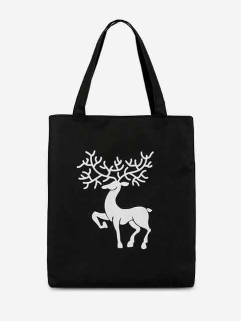 online Deer Printed Canvas Handbag - BLACK  Mobile