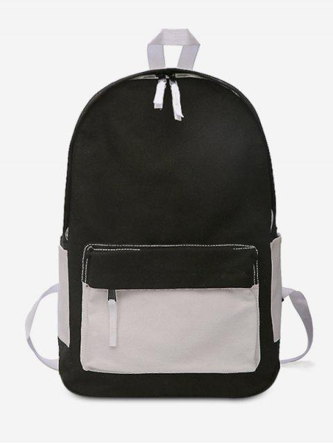 lady Canvas Color Block Design Student Backpack - BLACK  Mobile