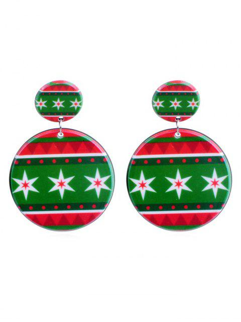 shop Snowflake Print Geometric Round Earrings - MULTI-D  Mobile