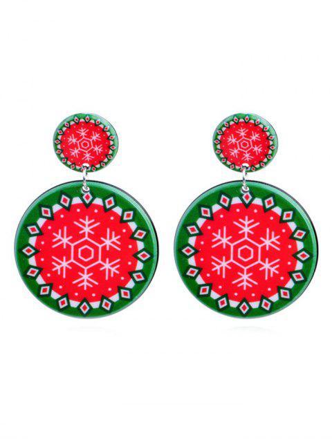 outfits Snowflake Print Geometric Round Earrings - MULTI-E  Mobile