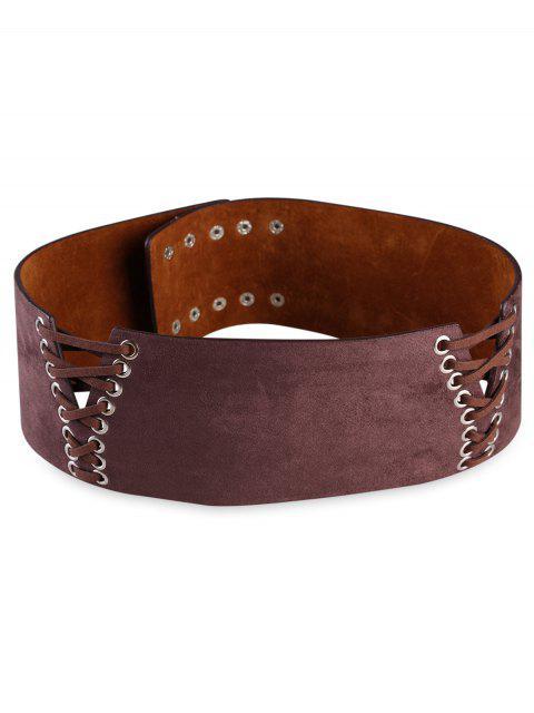 women Retro Faux Leather Wide Waist Belt - COFFEE  Mobile