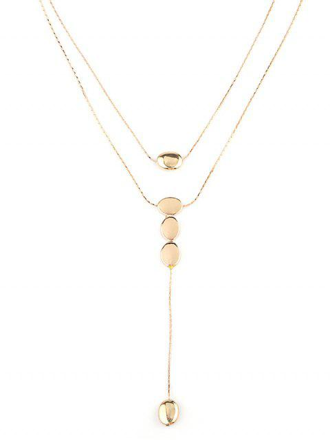women Double Layered Water Drop Chain Necklace - GOLD  Mobile