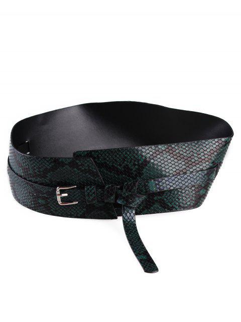 best Snake Faux Leather Wide Waist Belt - DARK FOREST GREEN  Mobile