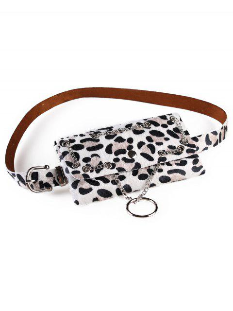 hot Punk Leopard Fanny Pack Belt Bag - WHITE  Mobile