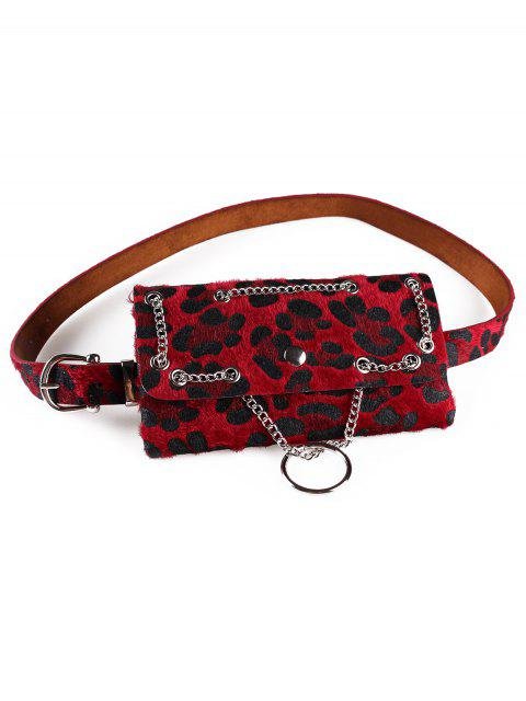 shop Punk Leopard Fanny Pack Belt Bag - RED  Mobile