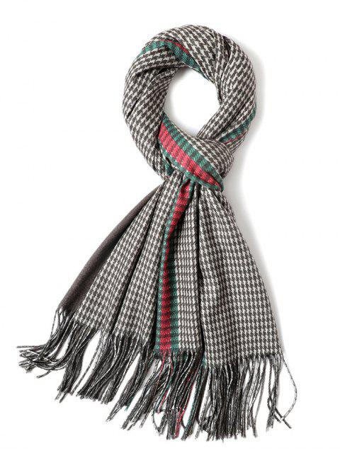 fashion Houndstooth Printing Tassel Warm Scarf - MULTI-B  Mobile