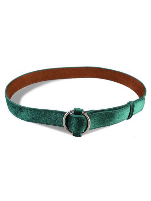 new Metal Round Buckle Suede Dress Belt - GREENISH BLUE  Mobile