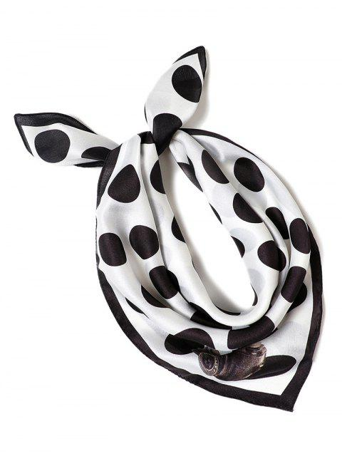 chic Retro Polka Dot Printing Scarf - BLACK  Mobile