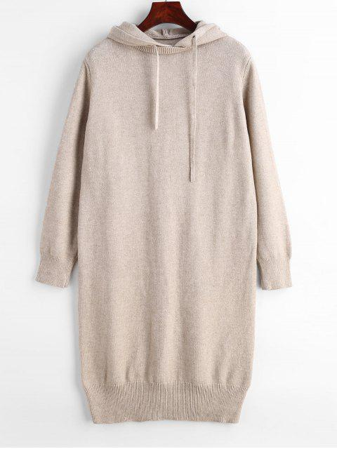 Vestido de suéter de manga larga con capucha - Caqui Claro Talla única Mobile