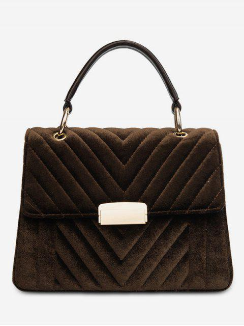 ladies Suede Leather Cover Design Handbag - COFFEE  Mobile