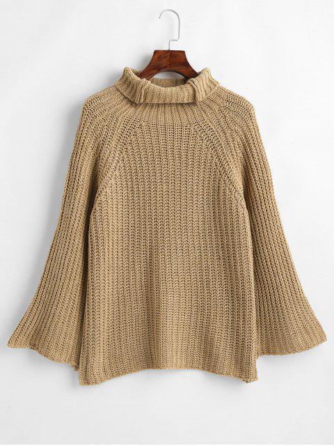 latest Wide Raglan Sleeve Turtleneck Sweater - CAMEL BROWN ONE SIZE Mobile