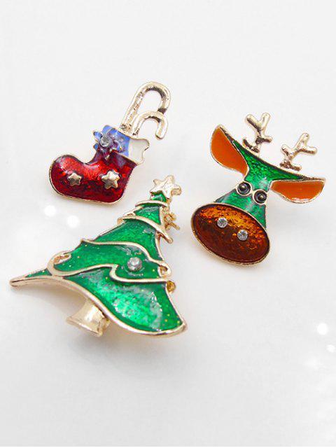 shops Rhinestone Decor Elk Tree Brooch Set - GOLD  Mobile