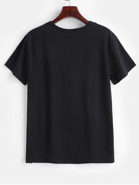 women Chest Graphic Tee - BLACK L Mobile