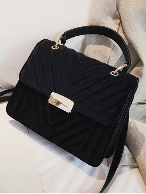 lady Suede Leather Cover Design Handbag - BLACK  Mobile