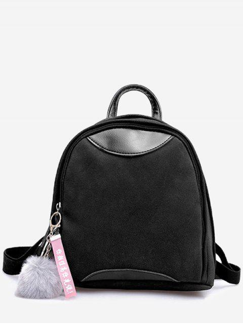 best Fluffy Ball and Chinese Pattern Mini Backpack - BLACK  Mobile