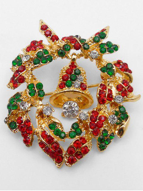fancy Christmas Bell Artificial Crystal Brooch - GOLD  Mobile