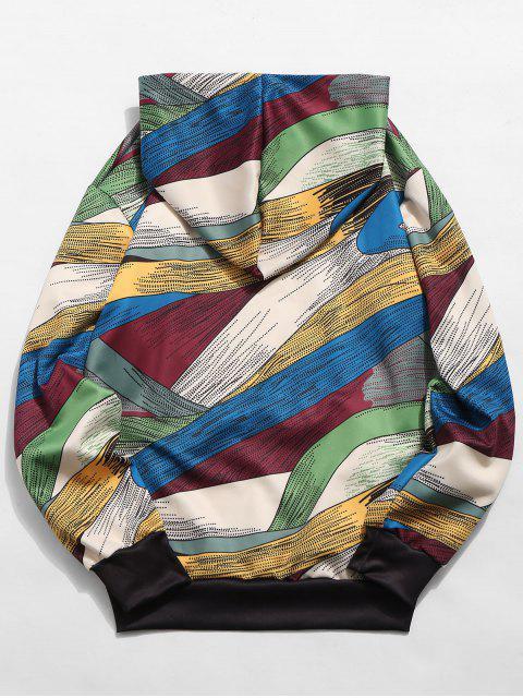 women Abstract Art Design Pullover Drawstring Hoodie - MULTI-B L Mobile