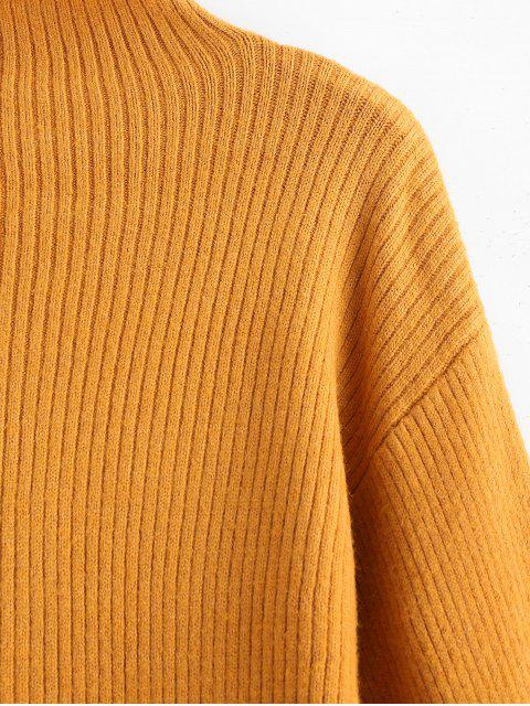 womens Blouson Sleeve Ribbed Funnel Sweater - TIGER ORANGE ONE SIZE Mobile