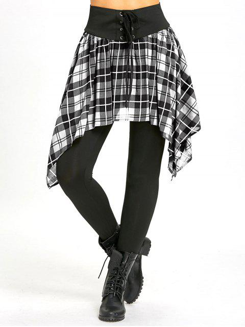 womens Asymmetric Plaid Lace Up Skirted Leggings - WHITE L Mobile