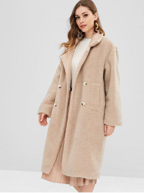 lady Faux Fur Fluffy Textured Winter Teddy Coat - CAMEL BROWN ONE SIZE Mobile