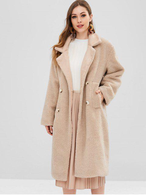 Manteau d'Hiver Teddy Texturé Fourré en Fausse Laine - Marron Camel Taille Unique Mobile