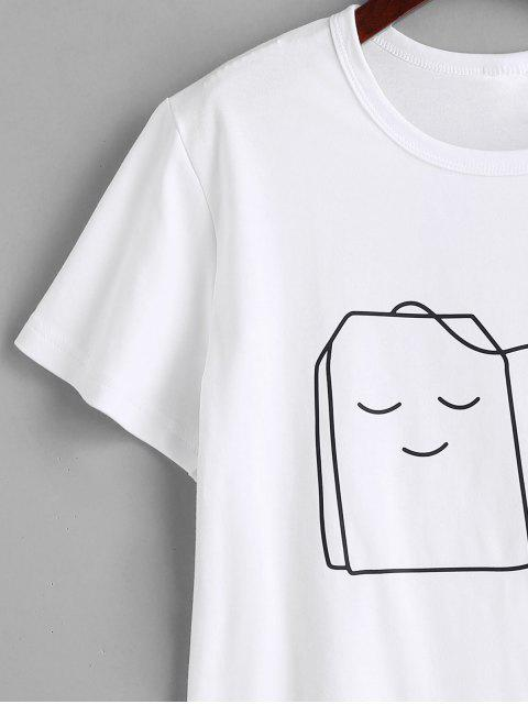 online Tea Graphic T-shirt - WHITE S Mobile