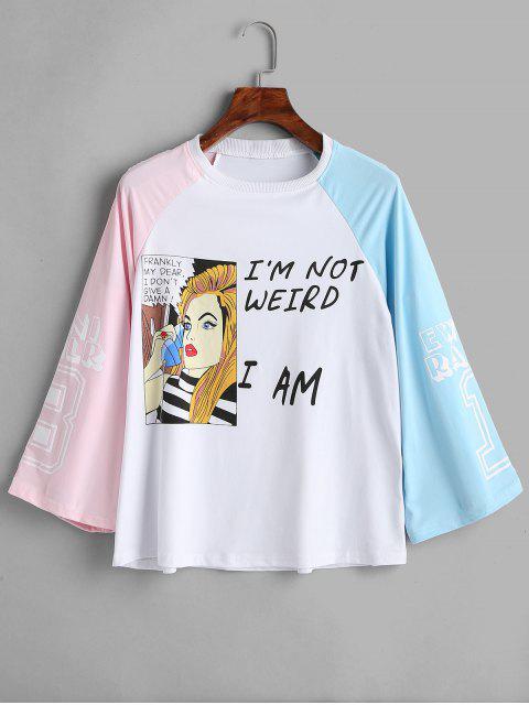 ladies Raglan Sleeve Letter Cartoon Graphic Tee - MULTI M Mobile