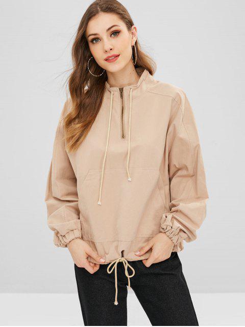 Übergroßes Sweatshirt mit Reißverschluss - Khaki Eine Größe Mobile