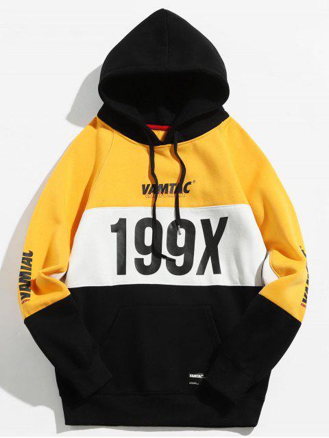 199X Graphic Fleece gefütterter Colorblock Hoodie - Niedliches Gummi Gelb L Mobile