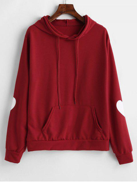 Fronttasche Drawstring Heart Hoodie - Roter Wein S Mobile