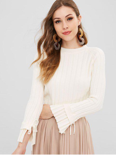 Gerippter Pullover mit gerafften Ärmeln - Weiß Eine Größe Mobile