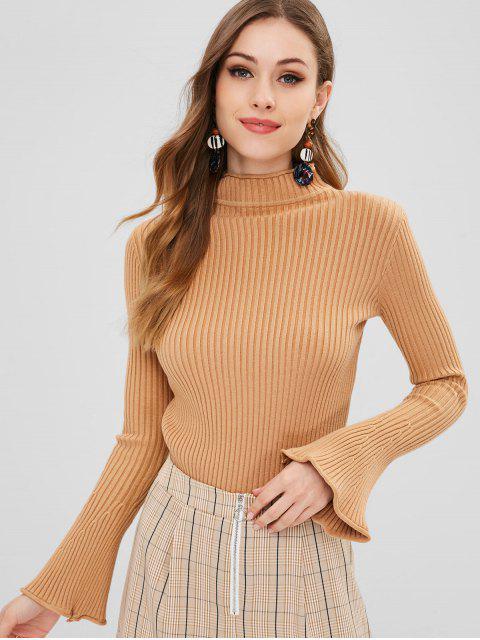 Suéter de manga campana cuello falso - Camel Marrón Talla única Mobile