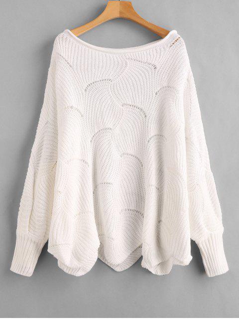 Suéter de manga de murciélago de calaveras calado - Blanco L Mobile