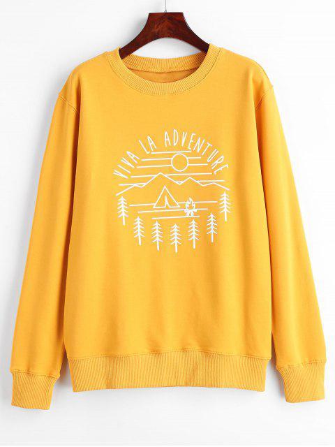 Viva La Adventure Grafik-Sweatshirt - Helles Gelb L Mobile