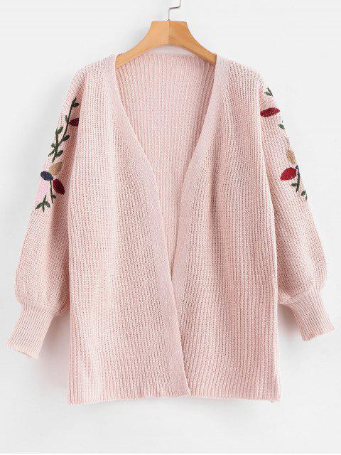 online Floral Embroidered Open Front Cardigan - LIGHT PINK ONE SIZE Mobile