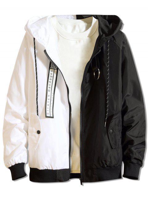 Veste à Capuche Lettre Patchwork en Blocs de Couleurs - Noir M Mobile