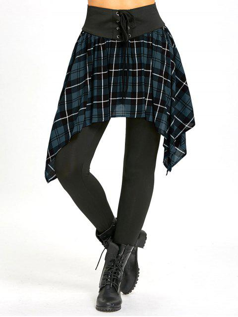 women Asymmetric Plaid Lace Up Skirted Leggings - LIGHT BLUE M Mobile