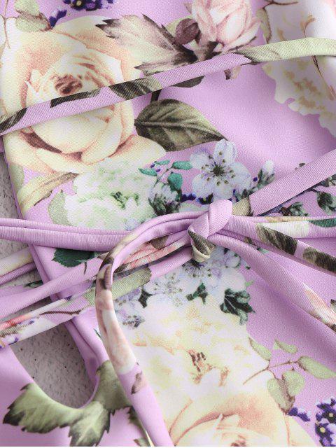 best ZAFUL Flower Cross Cross Backless Swimsuit - MAUVE S Mobile