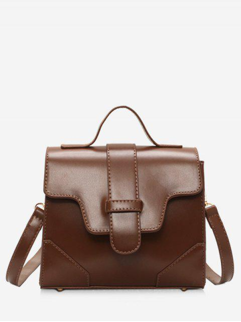 womens Magnetic Snap Cover Design PU Tote Bag - BROWN  Mobile