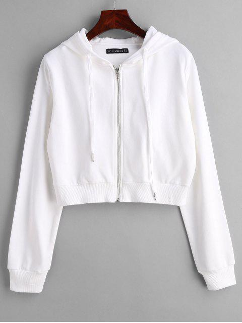 chic ZAFUL Drawstring Zip Up Cropped Hoodie - WHITE M Mobile