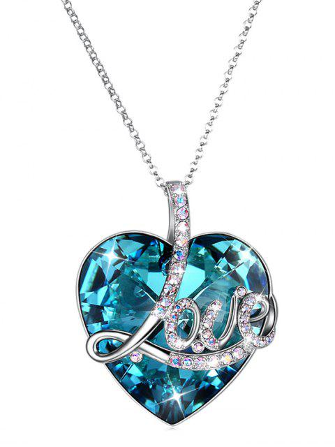 trendy Sterling Silver Heart Shape Pendant Necklace - PEACOCK BLUE  Mobile