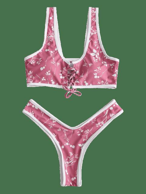 sale ZAFUL Floral Lace Up High Leg Bikini Set - LIPSTICK PINK S Mobile