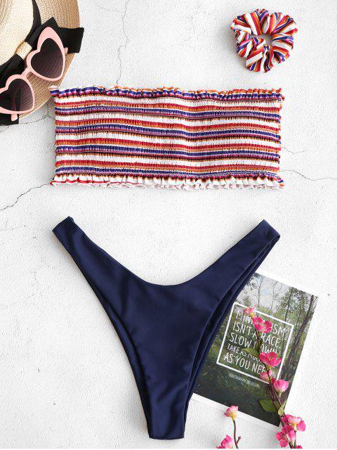 best ZAFUL Smocked Colorful Striped Bandeau Bikini Set - MULTI-A S Mobile