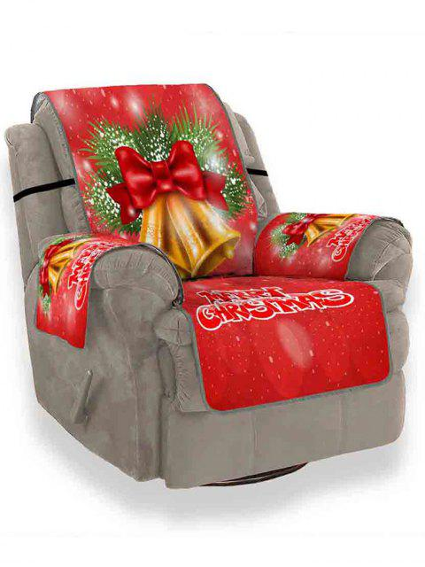 affordable Christmas Bells Pattern Couch Cover - RED SINGLE SEAT Mobile